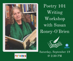 Poetry 101 Writing Workshop event image with a photo of Susan Roney-O'Brien