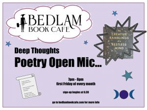 a lilac placard advertising the Deep Thoughts Poetry Open Mic