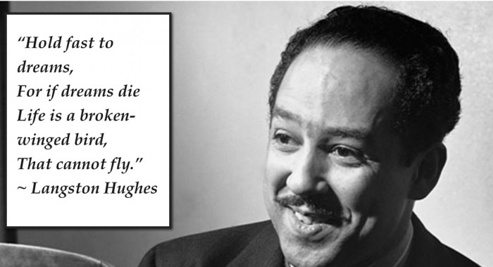 A photo of poet Langston Hughes with a snippet of his poetry in a white panel on the left of the image.